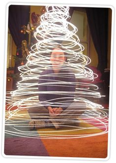 This is such a cool way of making a photo!  twirling the lights around to make light drawings of a tree very very cool :)