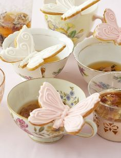 Tea and butterfly cookies.