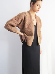 Boxy Knit Cardigan // 1980's vintage box silhouette sweater SOLD