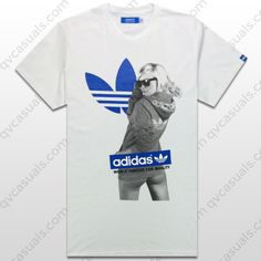 adidas Originals Mens White Blue Trefoil Girl Tee at QV casuals. Big savings on a huge range of top brand tees.
