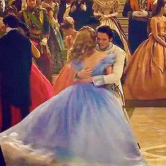"""thelovelyrichardmadden: """" Richard Madden pulling Lily James into a hug after successfully completing their ballroom scene dance routine »» As requested by theladymargaery """""""