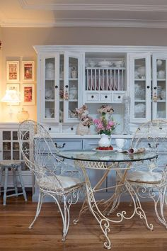 I love the French Bistro inspired wire chairs and table for a breakfast area in the kitchen...