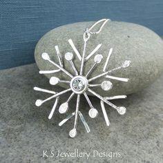 White Topaz Sterling Silver Snowflake Pendant - Christmas Winter Sparkle Snow £88.00