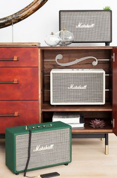 Limited-edition amps celebrating Marshall's 50th anniversary. Includes a coiled double-ended stereo cable for connection to your music device. $600-$800