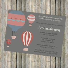 Flying high baby shower, vintage feel, Hot air balloon shower  digital, printable file (any colors). via Etsy. http://www.etsy.com/shop/freshlysqueezedcards