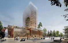 19 Geschosse Holz umgeben von Glas: So wird sich ab 2019 der Kern der schwedischen Kleinstadt Skellefteå präsentieren. © White Arkitekter