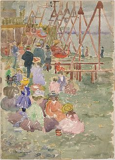 "Maurice Prendergast (1858–1924), ""Swings, Revere Beach"""