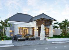 Desain Rumah Ibu Pongky @ Malang by Emporio Architect Minimalist House Design, Minimalist Home, Modern House Design, Tropical House Design, Tropical Houses, House Front, My House, Style Villa, Bali House