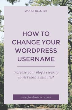 WordPress Security: How to change your WordPress username. The most common security threat to your WordPress blog is a weak username, stop hackers from gaining access to your site with this quick tutorial!
