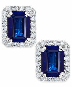 Velvet Bleu by EFFY 14k White Gold Diffused Sapphire (2-1/10 ct. t.w.) and Diamond (1/4 ct. t.w.) Stud Earrings