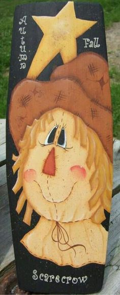 Scarecrow board Scarecrow Painting, Scarecrow Face, Halloween Painting, Tole Painting, Fall Wood Crafts, Thanksgiving Crafts, Holiday Crafts, Diy Crafts, Fall Halloween