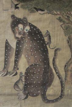 Leopard with Cubs, Korea, Chosun Period, 19th century.