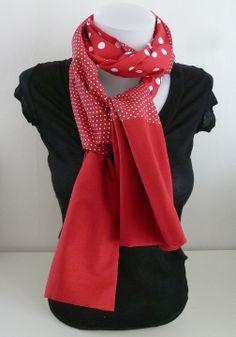 Etole - foulard, réversible, en tissu coton Rouge à Petits et Gros Pois  Blancs f9572f5ddc0