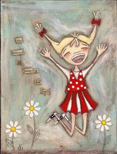 PRINT Of my original folk art painting - She Believed in Jumping for Joy - Duda Daze. $10.00, via Etsy.