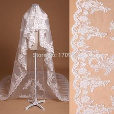 4 m long luxury bridal veil lace applique large lace veil trailing veil new-in Bridal Veils from Weddings & Events on Aliexpress.com | Alibaba Group