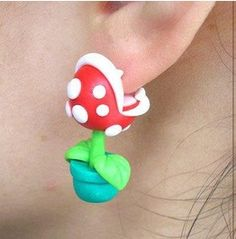 Super Mario YOUCH Piranha Clay Kawaii Earrings  I NEEED!