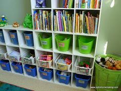ideas for kids room. Kind of cluttered but gave me the idea to use dollar tree items to organize.
