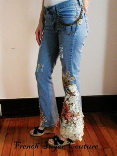 French Sugar Bohemian Rhapsody In Blue Flowered Jeans with Bling - Altered Couture