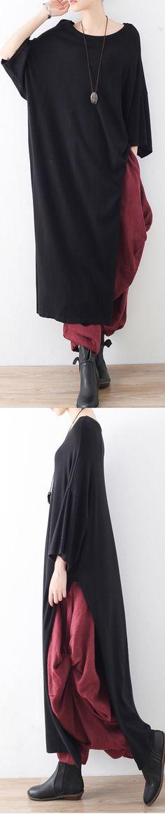 2017 fall black  side  high open knit sweaters  oversize batwing seeve woolen dress