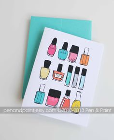 Nail Polish, Set of Four Folded Note Cards, Stationery, Illustration, Nail Art, I love nail polish, Mani, Manicure 4.25 x 5.5 inches. $8.00, via Etsy.