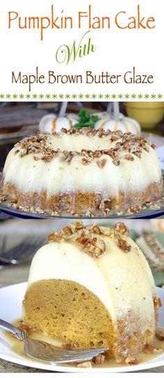 This Pumpkin Flan Cake with Maple Brown Butter Glaze has a tender pumpkin cake layer, a custardy flan layer, and a sweet-nutty-buttery glaze. A garnish of salted pecans perfectly offsets the sweetness of the glaze.