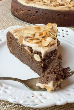 Sugar Free Flourless Chocolate Almond Torte, grain free, low carb- sugarfreemom.com