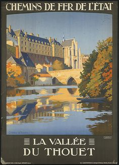 Vintage Railway Travel Poster - La Vallée du Thouet - by Duval, Constant Léon, approximate  1910/1959..