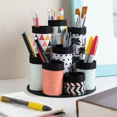 Getting organized. At the top of our #2017 #ToDo list! This genius little holder is made with #ModPodge and empty paper towel roll tubes - just add scrapbook paper in your favorite color!