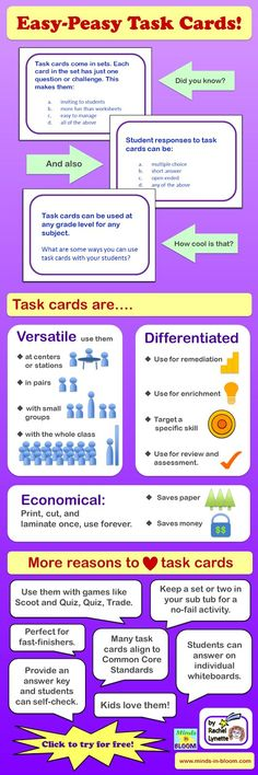 11 Sets of FREE Task Cards~  This great task card infographic explains the benefits and uses of task cards.  For a link to 11 sets of free task cards, check out Minds in Bloom.  Good information and lots of free goodies!