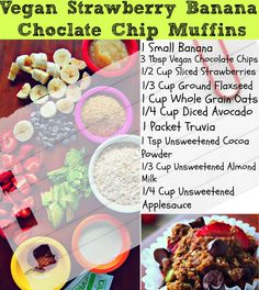 Delicious Strawberry Banana Chocolate Chip Muffin with: no added sugar, no eggs, no butter, no flour, no baking soda, no salt and no oil....What?! AND ONLY 76 calories..... Make a bunch, Freeze and heat up for breakfast throughout the week!