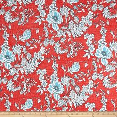 Dress? Circle skirt?  Venice Stretch ITY Knit Floral Print Coral from @fabricdotcom  Venecia ITY (interlock twist yarn) jersey knit fabric has an ultra silky and slightly sueded hand, fluid drape, textured accents and 50% four way stretch. It is perfect for creating swimwear with a lining and garments that require lots of drape such as dresses, tops or skirts. Colors include coral, white and light blue.