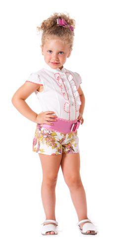Conjunto de short y camisa para niña paraisobebe.com ropa, bebé, verano, primavera, infantil, niña, moda