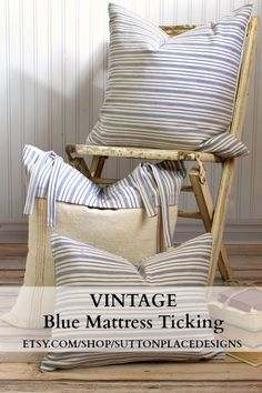 Vintage Blue Mattress Ticking