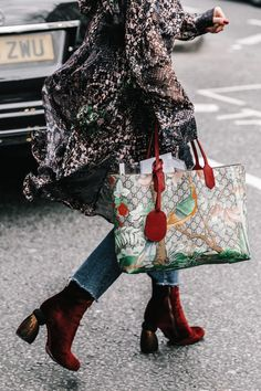 Gucci Bag and Red velvet Boots
