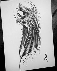 No automatic alt text available. Dragon Tattoo Drawing, Dragon Head Tattoo, Dragon Tattoo Designs, Best Tattoo Designs, Tattoo Design Drawings, Pencil Art Drawings, Tattoo Sketches, Body Art Tattoos, Sleeve Tattoos