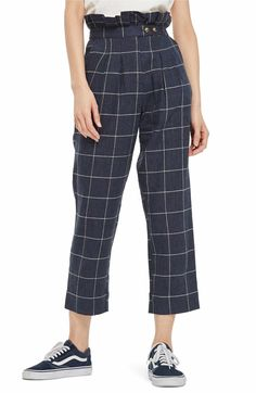 Main Image - Topshop Windowpane Peg Trousers