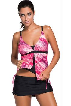 """Chase Secret Womens Tankini Top With Skirted Bikini Bottom Swimsuit Set (XXL, Rose). Suitable for Summer,Beach,Pool,Holiday. Tankini top, no underwire, including removable bra paddings. Available in Various Sizes and Colors.Please refer to the left size chart for further information. CHASE SECRET own it's Trademark,plz check you buy from """"Chase Secret""""."""