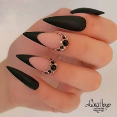 Ongles Bling Bling, Bling Nails, Swag Nails, Grunge Nails, Stylish Nails, Trendy Nails, Cute Nails, Cute Black Nails, Nail Black