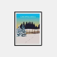 Vårt favorittsted på Lillehammer; gGropmarka! Plakaten fås også uten tekst, eller med din egne, valgfrie tekst! #lillehammer #langrenn #ski #gropmarka Vintage Ski