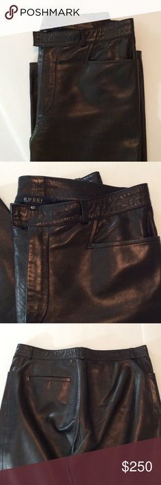 NWOT Gorgeous Gucci Leather Pants | Size 42 Authentic, soft feeling leather pants. Total score at this price. Inseam 30. Great investment leather pants never go out of style. Gucci Pants Straight Leg