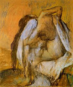 After Bathing, Woman Drying Herself by @edgar_degas #impressionism