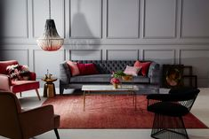 Accent wall ideas refer to varied wall models that provides unique level in a living room. Some accent wall concepts look exceptional that they outline certain living room's total look. Beaded Chandelier, Modern Chandelier, Chandeliers, Chandelier Lighting, Spa Architecture, Red Blush, Palette, The Design Files, Living Room Grey