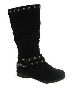 These bodacious boots are perfect for little lasses with hip style. A stud-trimmed upper and side buckle design add a cool edge, while a barely there heel ensures comfy steps.10'' shaft13'' circumferenceSample size Little Kid 1Man-madeImported