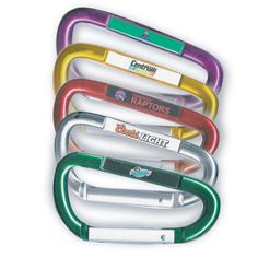 "Get potential customers ""hooked"" on your brand! This carabiner is constructed out of anodized aluminum and comes in an assortment of stock colors. Its clip style makes it a convenient option for holding keyrings and charms. An excellent giveaway for trade shows, conventions, and other networking opportunities. This carabiner comes digitally printed with a full color representation of your company name and logo under a protective epoxy dome."