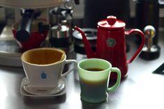 Blue Bottle Coffee  bonmac コーヒードリッパー.  ファイヤーキングDハンドル マグ.  野田琺瑯 月兎印ホーロースリムポット.