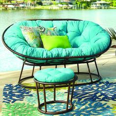 Papasan Outdoor Double Chair Frame - Mocha