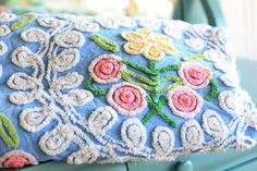 Vintage chenille pillow--I remember those days of soft beds and visits to friends' homes....