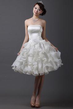 Sweet Strapless Rhinestone Embellished Flouncing Bridesmaid Dress For Women (WHITE,8) China Wholesale - Sammydress.com