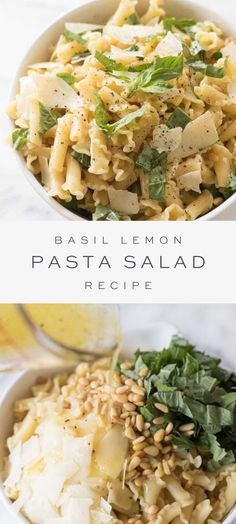 A refreshingly easy Basil Lemon Pasta Salad recipe. Light in calories, fresh and beautiful spring or summer pasta salad recipe that's easy to make and take! Lemon Pasta Salads, Summer Pasta Salad, Pasta Salad Recipes, Healthy Salad Recipes, Summer Salads, Vegetarian Recipes, Cooking Recipes, Recipe For Pasta Dishes, Light Pasta Recipes