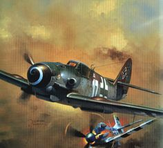 Bf-109K pursued by P-51D Mustang